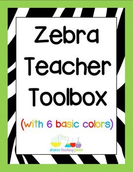 Zebra Themed Teacher Toolbox Labels (in 6 basic colors)