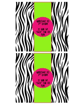 """Zebra Themed """"Welcome to ____ Grade"""" Candy Bar Wrappers"""