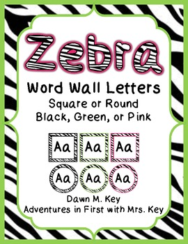 Zebra Themed Word Wall Letters