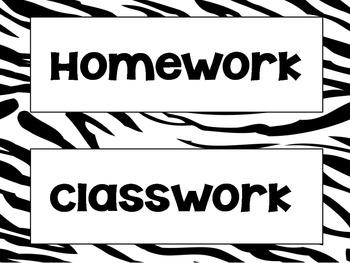 Zebra Classroom Labels