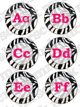 Word Wall Headers: Zebra print with hot pink font