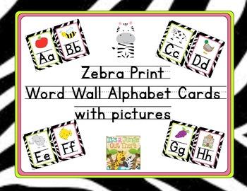 Zebra Word Wall Alphabet Cards (Lined Font)