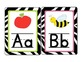 Zebra Word Wall Alphabet Cards (Lined Font)