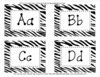 Word Wall Zebra Alphabet Tags Classroom Decor