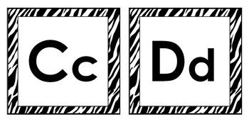 Zebra Theme Classroom Decor -- Word Wall Headers