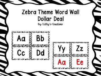 Zebra Word Wall Letters Dollar Deal