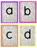 Zebra Word Wall Letters or Alphabet Line Flashcards
