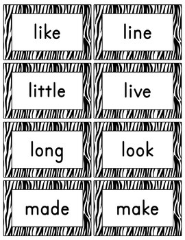 Zebra Word Wall (With Editable PDF) with Headers