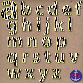 Zebra & Yellow Digital Alphabet & Numbers Clip Art Set- Letter Tiles