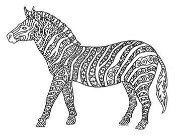 Zebra Zentangle Coloring Page