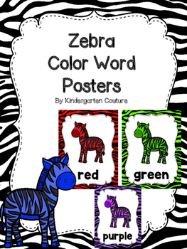 Zebra/Zoo Theme Color Word Posters