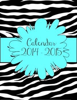 Zebra and Aqua Calendar July 2014 - July 2015