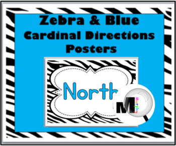 Zebra Theme Classroom Decor - with Blue - Cardinal Directions Signs