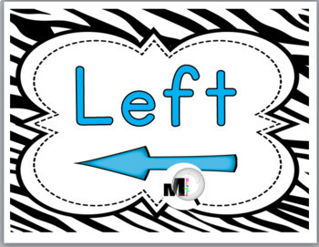 Zebra Theme Classroom Decor with Blue Left & Right Posters - Positional Words