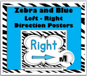 Zebra Theme with Blue Left - Right Direction Posters - Pos