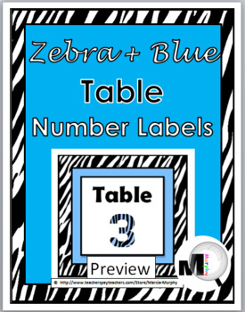 Zebra Theme with Blue Table Numbers