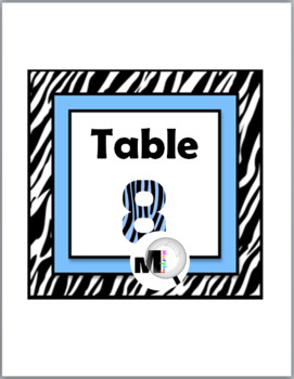 Zebra Theme Classroom Decor with Blue Table Numbers