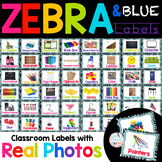 Zebra and Blue Themed Labels for the classroom with Real photos!