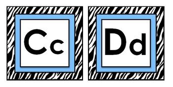 Zebra Theme Classroom Decor with Blue Word Wall Headers