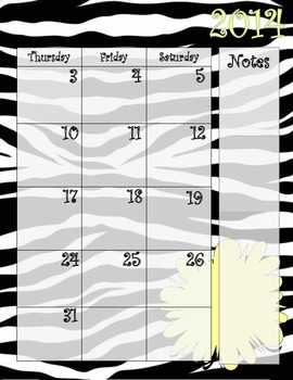 Zebra and Bright Green Calendar July 2014 - July 2015