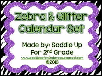 Zebra and Glitter Calendar Set