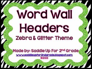 Zebra and Glitter Word Wall Headers