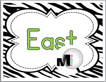 Zebra Theme Classroom Decor with Green - Cardinal Directions Signs