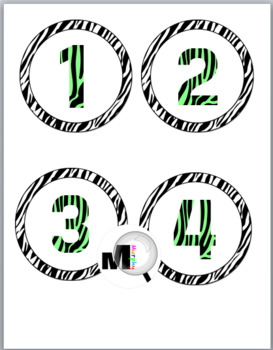 Zebra Theme Classroom Decor with Green Circle Numbers / Labels 1 - 40