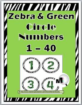 Zebra Theme with Green Circle Numbers / Labels 1 - 40