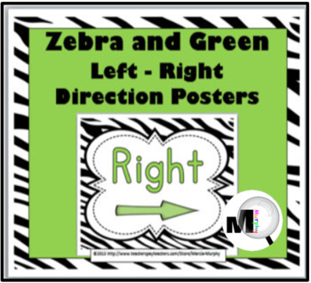 Zebra Theme with Green Left - Right Direction Posters - Po