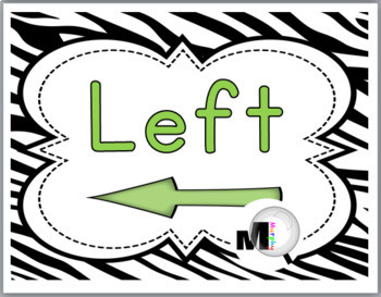 Zebra Theme Classroom Decor with Green Left & Right Posters - Positional Words