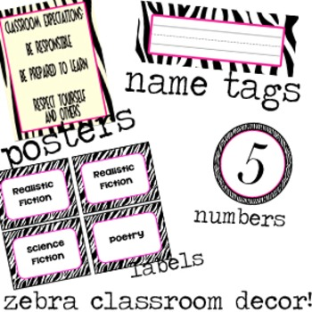 Zebra and Hot Pink Classroom Printables