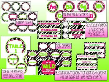 Zebra Print and Hot Pink/Neon Green Classroom Theme Pack