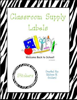 Zebra and Lime Green Classroom Supply Labels