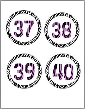 Zebra Theme Classroom Decor with Pink Circle Numbers / Labels 1 - 40