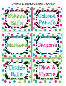 Zebra and Polka Dots - Bin Labels - Editable