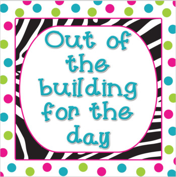 """Zebra and Polka Dots - Out of the Building for the Day - 8""""x8"""""""
