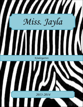 Zebra and Teal Binder Cover