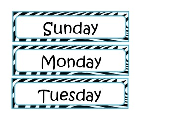 Zebra and Teal Days of the Week for calendar charts