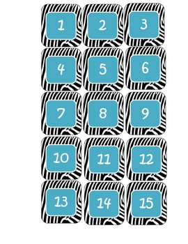 Zebra and Teal calendar numbers for charts