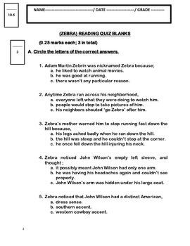 Zebra by Chaim Potok - Reading Comprehension Quiz and Answer Key