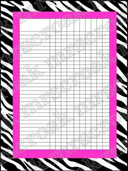 Classroom Charts: Zebra with hot pink (editable)