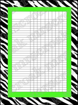 Classroom Charts: Zebra with lime green (editable)