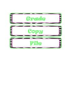 Zebra print classroom labels