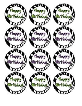 Zebra print happy birthday labels