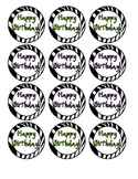 Zebra print happy birthday labels