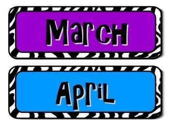 Zebra print monthly calendar headers