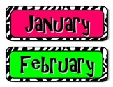 Zebra print monthly calendar headers