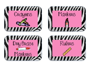 Zebra print with pink classroom supply labels