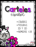 Zebra theme Posters for Spanish classrooms